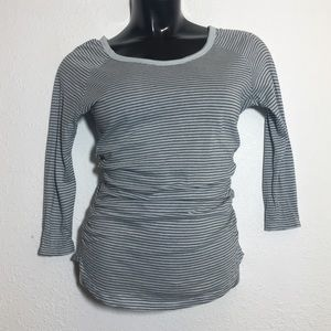 James Perse Light Blue And Black Striped Top
